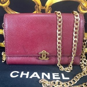 Vintage CHANEL CC Logo Clasp Wallet on Chain